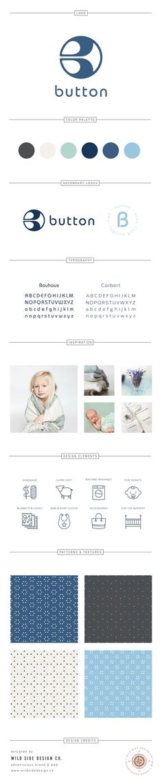 Brand Launch :: Brand Style Board :: Handmade Baby Products Branding :: Button Brand Design :: #brandboard by Wild Side Design Co. - www.wildsidedesign.co