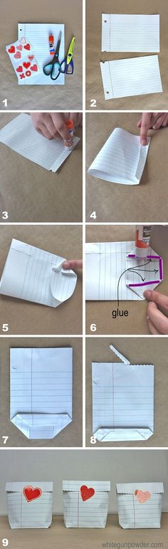 diy notebook paper bags
