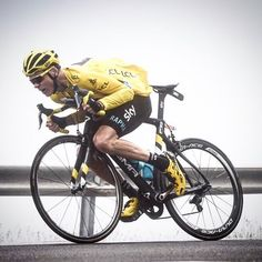 Chris Froome Descending the misty Port d'Envalira stage 10 TDF2016 by simongillphoto