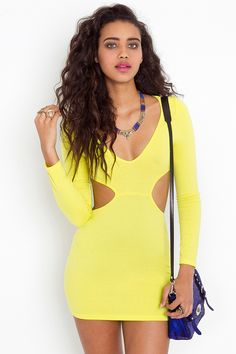 Neon Cutout Dress http://www.nastygal.com/back-in-stock/neon-cutout-dress