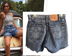 Vintage Levi Levi's high waisted Shorts denim cut offs cutoffs speckled red tag fringed and frayed festival womens size 31 550 xx jeans rad by VELVETMETALVINTAGE on Etsy