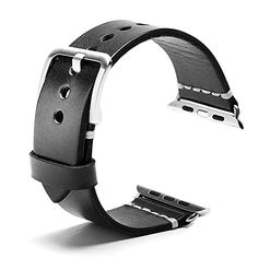 Apple watch band Iwatch Vintage Genuine Leather Strap Replacement Band With Secure stainless Metal Clasp Buckle For All Apple watch Series 1 Series 2 sport Edition 42MM Black * You can find out more details at the link of the image.