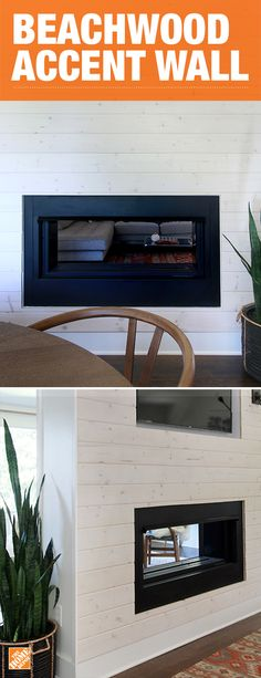 Create a beautiful fireplace that's worthy of being the center of attention. Wrapped in Beach Cottage boards, this fireplace is just as much a piece of art as it is functional. Family and friends will have no hesitations gathering around the fire this yea Fireplace Accent Walls, Fireplace Wall, Beach Cottage Style, Beach House, Beach Cottages, Basement Remodeling, My Living Room, Home Renovation, Great Rooms