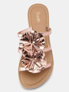 Shannon Leather Corsage Sandals - Rose Gold