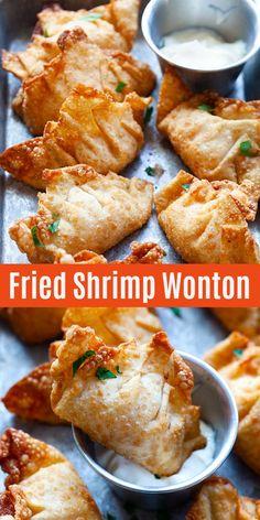 Wonton Recipes, Seafood Recipes, Appetizer Recipes, Cooking Recipes, Fried Shrimp Recipes, Wonton Appetizers, Shrimp Wonton, Crispy Wonton, Easy Chinese Recipes