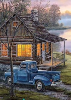 Cabin by the river landskap Country Art, Country Life, Pictures To Paint, Art Pictures, Photos, Landscape Art, Landscape Paintings, Vintage Clipart, Farm Paintings