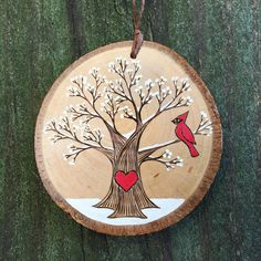 You can order this perfect winter scene just as it is, or you and your loves initials can be burned into the heart on the trunk of the beautiful winter tree that has a red cardinal up in the branches. It would make a romantic Valentine! It also would be perfect for a winter wedding or engagement gift with the addition of a sign beneath the heart with a date. (as seen in the second photo) 2017 can be burned on the back of the ornament for no additional charge, just please include that…