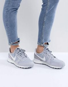 Nike Internationalist Nylon Trainers In Grey And White