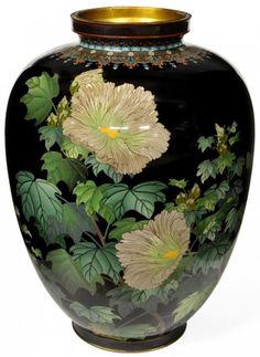 Japanese cloisonné floral vase, Meiji Period