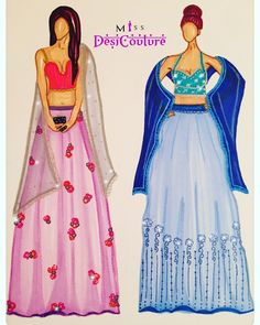 Moving on to blue vs pinky lehengas. Both summer ready. The left lehenga features a deep cut blouse with gold scallop trimming. Paired with a soft lilac blush lehenga with 3D floral embroidery.   Which one is your favourite??   To get these made or customised for you, email us at miss.desi.couture@gmail.com