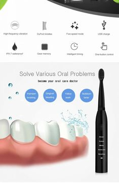 Specification: Material: ABS / TPE / DuPont nylon bristle Charging mode: charging Voltage: Power: Product Features: Powerful cleaning up to… Ultrasonic Toothbrush, Water Flow, Whitening, Lava, Electric, Usb, Pallet