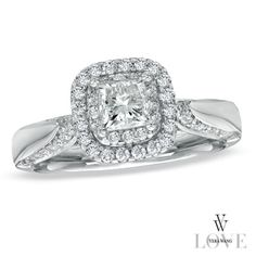 Vera Wang LOVE Collection 7/8 CT. T.W. Princess-Cut Diamond Double Frame Engagement Ring in 14K White Gold - Zales