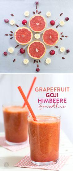 Grapefruit-Goji-Himbeere Smoothie – Lieblingsfarbe zum Trinken, Smoothie-Montag auf feiertäglich.de