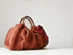 Women's Knit tote bag, handmade bag, accessories, Knitted Handbag, Burnt Sienna, autumn, fall, winter Bag, christmas gift, pink bow. $65.00, via Etsy.