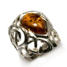 Certified Genuine Honey Amber and Sterling Silver Celtic Love Knot Ring > Price: $120.00  > Sale: $55.00 > Click on the image for details and offers.