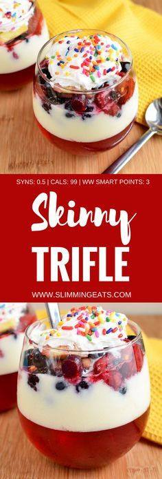 Slimming Eats Low Syn Skinny Trifle - gluten free, Slimming World and Weight Watchers friendly astuce recette minceur girl world world recipes world snacks Slimming World Trifle, Slimming World Deserts, Slimming World Puddings, Slimming World Tips, Slimming World Dinners, Slimming World Recipes Syn Free, Slimming Eats, Syn Free Desserts, Healthy Desserts