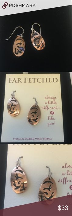 "Far Fetched Copper Earrings Copper bird earrings. Sterling silver hooks. Fair trade and handcrafted & soldered by a small community in Mexico. Dangles at 1"". 3/8"" widest point. Far Fetched Jewelry Earrings"