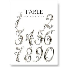 Any Color Table Numbers Fancy Silver Postcard Number Tattoo Fonts, Tattoo Fonts Alphabet, Number Tattoos, Tattoo Lettering Styles, Lettering Design, Letras Tattoo, Fancy Letters, Graffiti Lettering, Arabesque