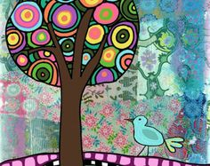 Lollipop Tree, Folk Art Boho, Art Print for Home or Nursery
