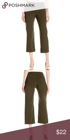 "Kick Flare Pants - NEW! Cute cropped twill pants. Pull on with faux waist and fly, super flattering. 78% rayon, 19% nylon, 3% spandex. Stretchy but nice, firm fabric. Front pockets and top stitching detail. Inseam approx 21"". BRAND NEW NEVER WORN STILL IN PACKAGE!!     Color is ""oregano"" - a pretty olive green. Briggs Pants Ankle & Cropped"