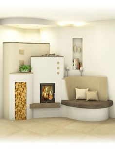 Kachelofen modern Modern and traditional tiled stove - Sigmund Small Hall, Traditional Bedroom Decor, Cozy Room, Door Design, Decorating Your Home, Decorating Tips, Home Furniture, Living Room Decor, Family Room