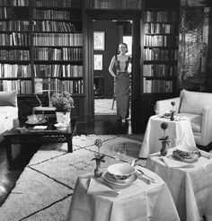 Mrs. Lewis Lapham in the doorway between her sitting room and dining room.