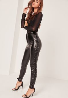 Missguided - Faux Leather Lace Up Side Leggings Black