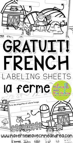 FREE French Farm labelling sheets for your writing centre! French Teaching Resources, Teaching French, Learning Resources, Writing Center Kindergarten, In Kindergarten, Writing Centers, How To Speak French, Learn French, French Worksheets