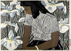 Hashimoto Okiie Girl and Irises 1952