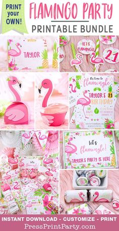 FLAMINGO PARTY PACKAGE: Plan the perfect tropical pink flamingo birthday, baby shower or bridal shower with these easy to use printables. Flamingo and pineapple Invitation, decorations, favor boxes, banners etc. All is included to make your DIY flamingo Flamingo Party Supplies, Pink Flamingo Party, Flamingo Baby Shower, Flamingo Birthday, Pink Flamingos, Birthday Supplies, Pink Birthday, First Birthday Parties, Birthday Party Decorations