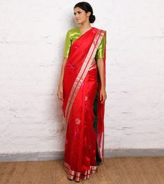 Gulbadan Red Handwoven Saree @Alyson Dant Roots