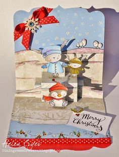 Purple Onion Design Stacey Yacula Stamps & Pop It Ups Skating Christmas Card