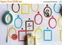 Picture frame stamp set. hand carved rubber stamp. draw your own pictures. diy…