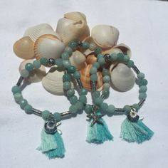 Blue Amazonite Beach Boho Beaded Bracelet (8mm) with Tibetan Silver Focal and Beads Tassels and Silver Shell Starfish Charms by DreamCuff