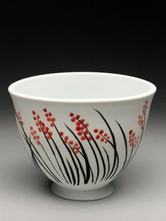 Kathy Phelps Bowl With Weeds and Red Dots at MudFire Gallery