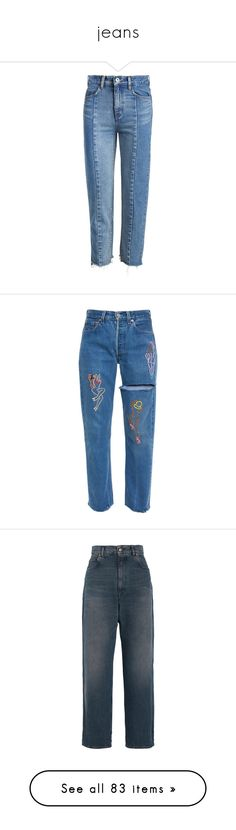 """jeans"" by parkaiagogona ❤ liked on Polyvore featuring jeans, pants, bottoms, denim jeans, straight-leg jeans, cropped jeans, straight leg jeans, raw edge jeans, raw edge hem jeans and trousers"