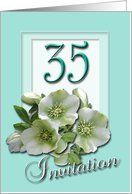 35th Wedding Anniversary Invitation - White Hellebores Card by Greeting Card Universe. $3.00. 5 x 7 inch premium quality folded paper greeting card. Wedding Anniversary invitations & photo Wedding Anniversary invitations from Greeting Card Universe will help make your event special. Make your event a memorable one by sending a custom Wedding Anniversary invitation. Send a Wedding Anniversary invitation from Greeting Card Universe this year. This paper card includes the...