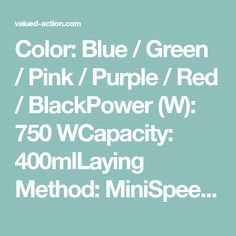 Color: Blue / Green / Pink / Purple / Red / BlackPower (W): 750 WCapacity: 400mlLaying Method: MiniSpeed Adjustment: One GearDimensions (L x W x H (Inches): 82 x 80 x 235mmCharging Port Shape: ConeRecharge - USBPulp Container Volume: < 500mlRating (Rpm): 20001-22000RpmBlade Material: Stainless SteelHousing Material: Color Blue, Blue Green, Juicing With A Blender, Pink Purple, Container, Usb, Shape, Duck Egg Blue