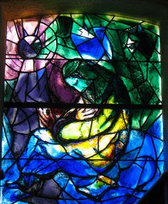 Father as motherly. Christ's love, like a womb. Shelter, like a womb. What a window... Marc Chagall. Stained glass.