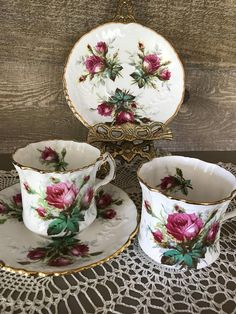Hammersley Tea Cup and Saucers Set of Two Grandmothers Rose