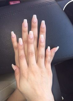 coffin shaped acrylics french ombre  nails  pinterest