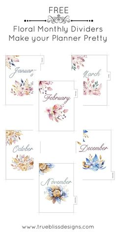 These monthly printable dividers with watercolor floral images are designed for A5 planners such as Kikki K. Download your free DIY dividers today and make your planner pretty! For more freebies visit www.trueblissdesigns.com. #floral #printable #planner