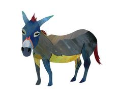 Donkey Handpainted cutpaper illustration archival by erinalthea, $14.95