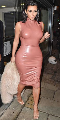 Last Night's Look: Love It or Leave It? | KIM KARDASHIAN  | in a high-neck pink latex dress and puff-sleeve fur at the Mert & Marcus House of Love party for Madonna in London
