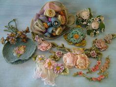 Antique Vtg Lot Silk Ribbon Work Embroidery Rosettes Trim Appliques Boudoir Doll