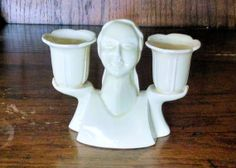 "Vintage Art Deco Figural Ceramic Pale Yellow Double Candle Holder with Tulip Cups Marked ""Made in Japan"" 1920's/1930's"
