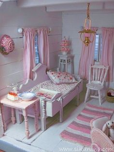 tiny pink and white room