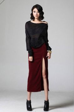 Korea Noble Zipper Trim Knit Long Pencil Skirt - Wine