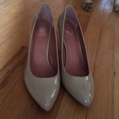 """•Vince Camuto• Vickiy Pumps •Brand new without the box  •Heel height approximately 3""""  •Patent nude color  •Leather upper/synthetic lining and sole  •One small scuff on the back of the left shoe (shown in photo three) and slight scuffs on the heels from trying them on inside Vince Camuto Shoes Heels"""