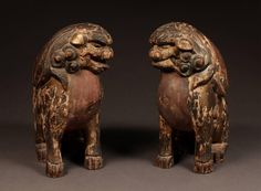 18th Century Pair of Polychrome Wood Shinto Lion-Dogs, Komainu, from Japan